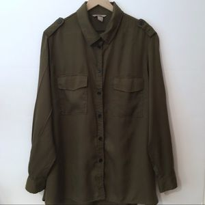 H&M Sage Green Button Up Blouse, 24